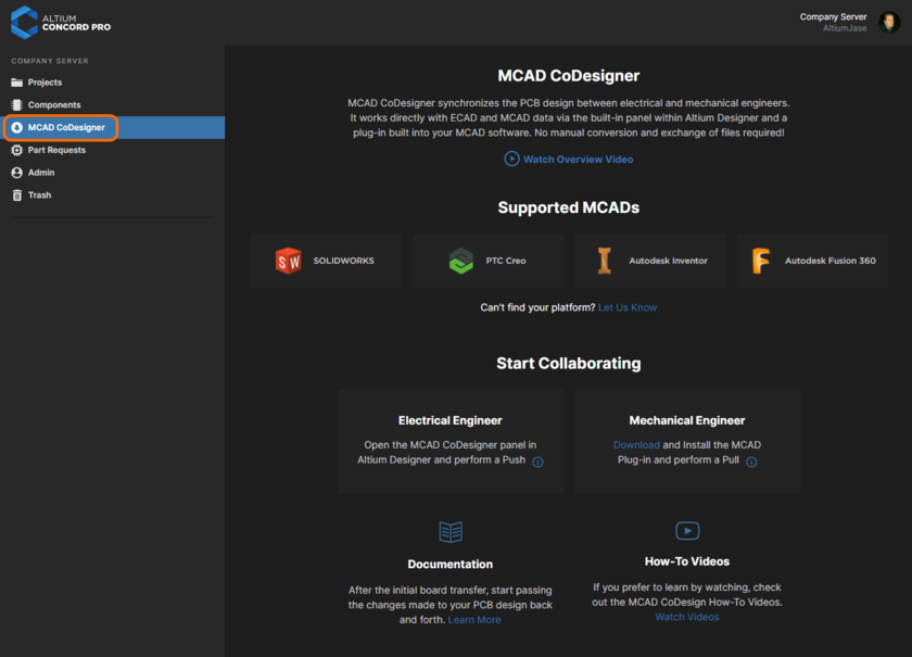 The MCAD CoDesigner page provides an overview of the area, along with links to the MCAD CoDesigner Plugins and further educational material.