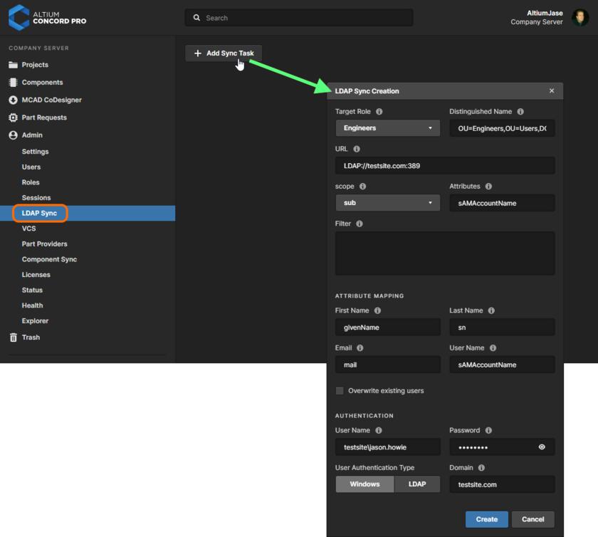 Adding an LDAP Sync task through Concord Pro's browser interface.