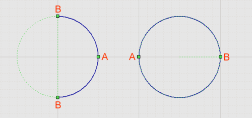 Selected Arcs (Full Circle Arc on right).