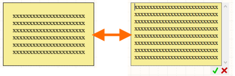 Margins are not shown while graphically modifying the text in place.