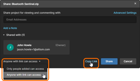 Enabled the Anyone with link can access option in the Share window to make the design data available to everyone.