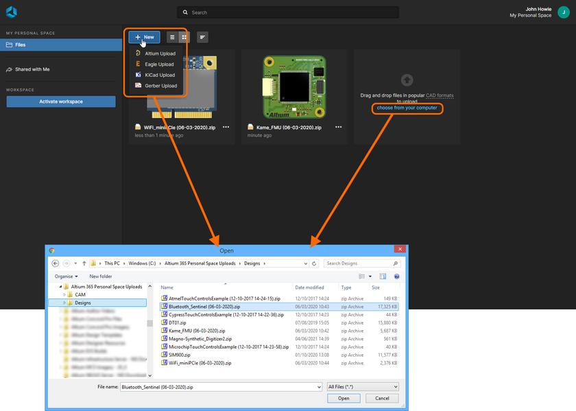 Вы можете выгружать данные в персональное пространство Altium 365 различными способами. Здесь показаны элементы управления для вызова диалогового окна, с помощью которого осуществляется выбор данных для выгрузки. Наведите курсор мыши на изображение, чтобы увидеть пример выгрузки путем перетаскивания.