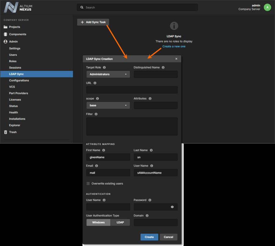 Adding a new LDAP Sync Task through the NEXUS Server's browser interface.