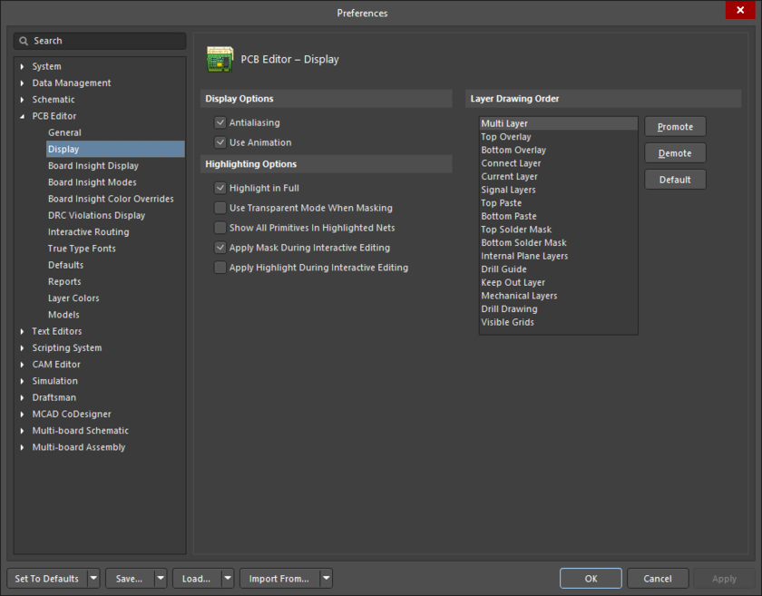 The PCB Editor - Display page of the Preferences dialog