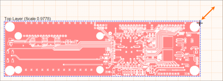 Drag a selected Board Fabrication View's resize node to change its scale.