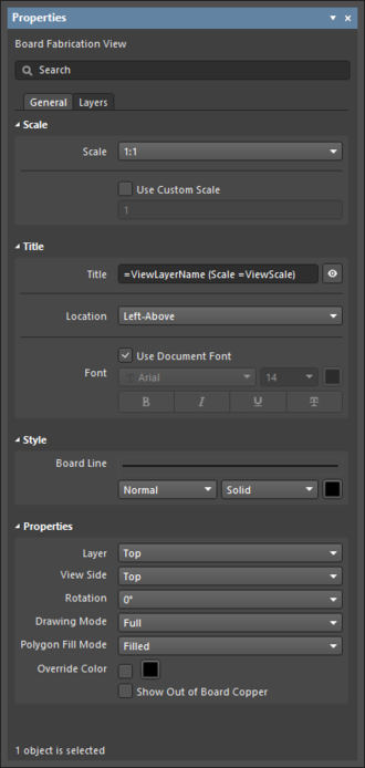 The Fabrication View default settings in the Preferences dialogand the Board Fabrication View mode of the Properties panel