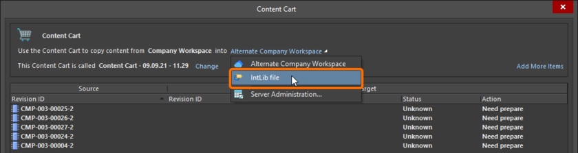 Set the target of the Content Cart to be an IntLib file.