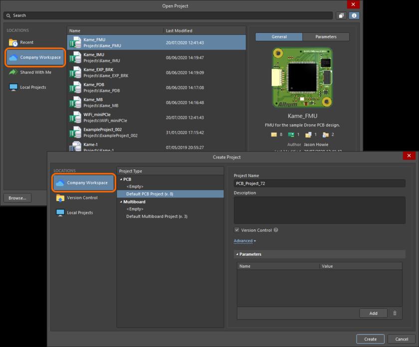 После подключения будет отображено название Workspace и в диалоговом окне будут отображены соответствующие данные.