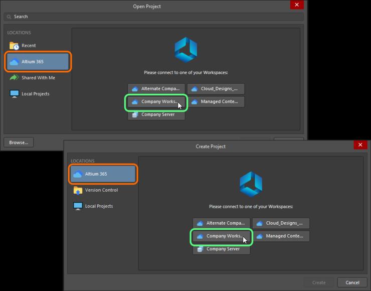 Подключение к Workspace через диалоговые окна Open Project и Create Project.
