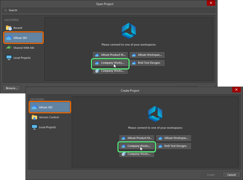 Connect to a Workspace through the Open Project and Create Project dialogs.