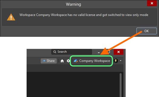Подключение к Workspace, который перешел в режим доступа только на чтение.