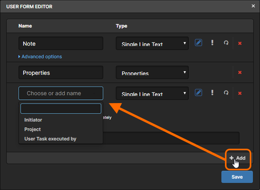 Example addition of a new field to a Form. You can either choose to reference an existing variable defined for the parent process definition, or enter a new name, and in doing so create a new variable for that definition (once the Form is saved).