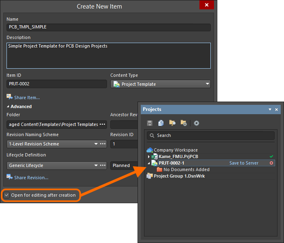 Example of editing the initial revision of a Project Template Item, directly from the managed content server - the temporary editable project is opened in the Projects panel, ready for you to add documents and configure as required.