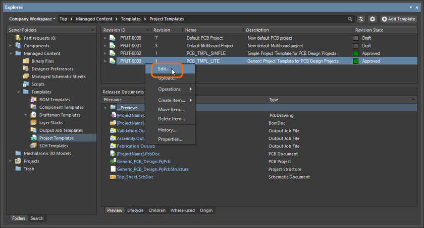 Accessing the command to launch direct editing of an existing revision of a Project Template Item.