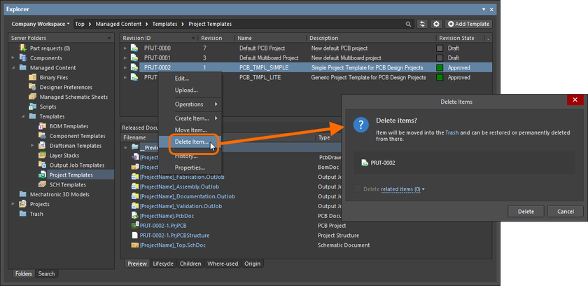 Soft deletion of a Project Template Item. The Item will be moved to the Workspace's Trash area.