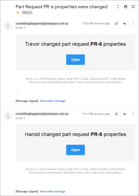 The relevant parties receive notification of part request creation and any updates through email notifications, if this feature is configured and enabled.