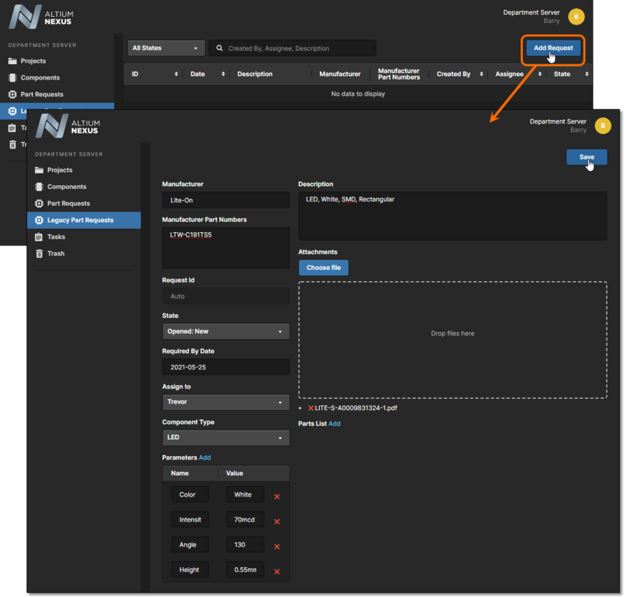 Adding a new part request through the server's browser interface.
