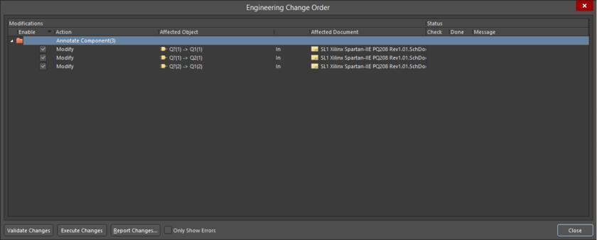 The Engineering Change Order dialog