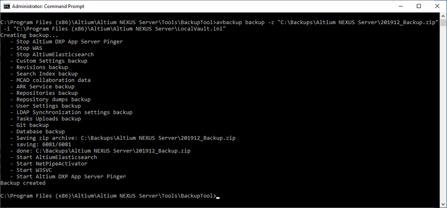 The result of running the example backup command.