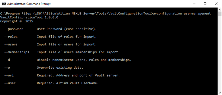 Switches available when using the tool in usermanagement mode.