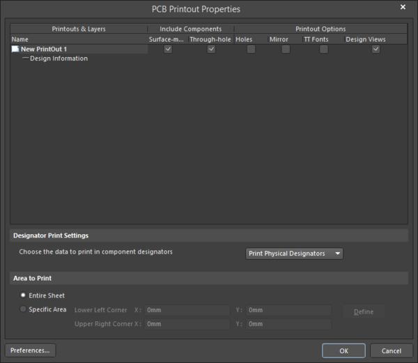 The PCB Printout Properties dialog