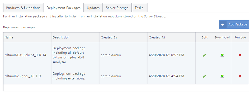 The Deployment Packages tab of the NIS interface – command central for fashioning deployment packages that can then be downloaded and used within your organization.