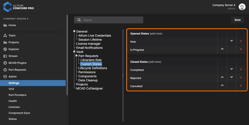 The Custom States page of the Admin – Settings area provides the interface for customizing the states used in the Part Request feature.