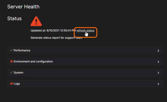 Click the refresh link to update the server health information.