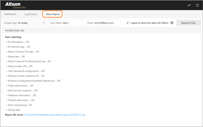 Use the Status Report screen to generate collated Log report files for debugging purposes.