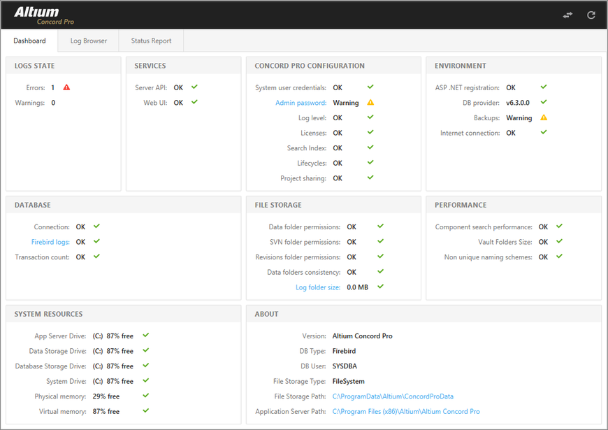 The Health Monitor Dashboard GUI provides an instant view of the server's status and that of its support infrastructure, plus links to more information.