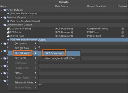 Добавьте генератор выходного 3D-видео платы для каждого 3D-ролика, который вы хотите опубликовать. Наведите курсор мыши на изображение, чтобы увидеть добавленный выходной документ.