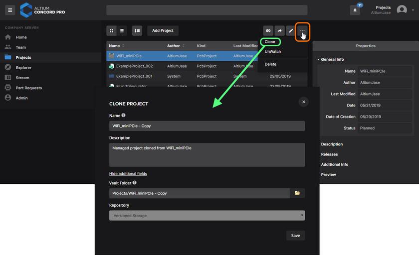 Вы можете клонировать управляемый проект для создания его идентичной копии, а также его рабочих файлов.