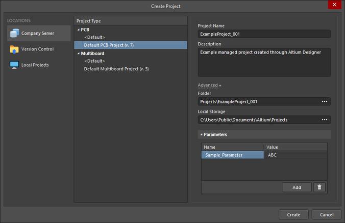Настройки в диалоговом окне Create Project для создания нового управляемого проекта из Altium NEXUS.