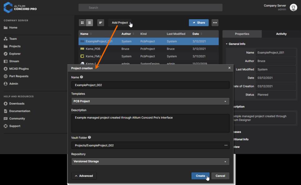 Создание нового управляемого проекта через веб-интерфейс Altium Concord Pro.