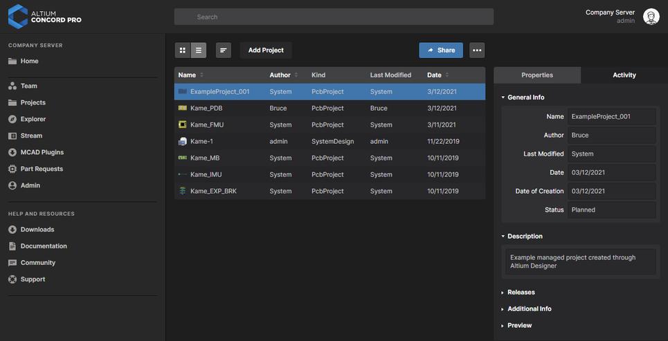 Новый проект проект, отображаемый на странице Projects веб-интерфейса Altium Concord Pro.
