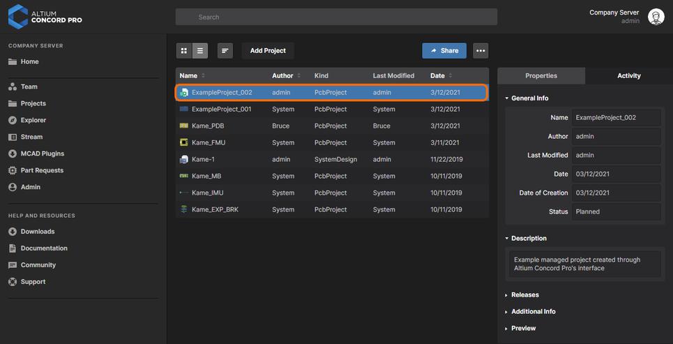 Новый проект, отображаемый на странице Projects веб-интерфейса Altium Concord Pro.