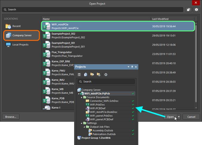 В Altium NEXUS выберите, какой доступный вам управляемый проект необходимо открыть.