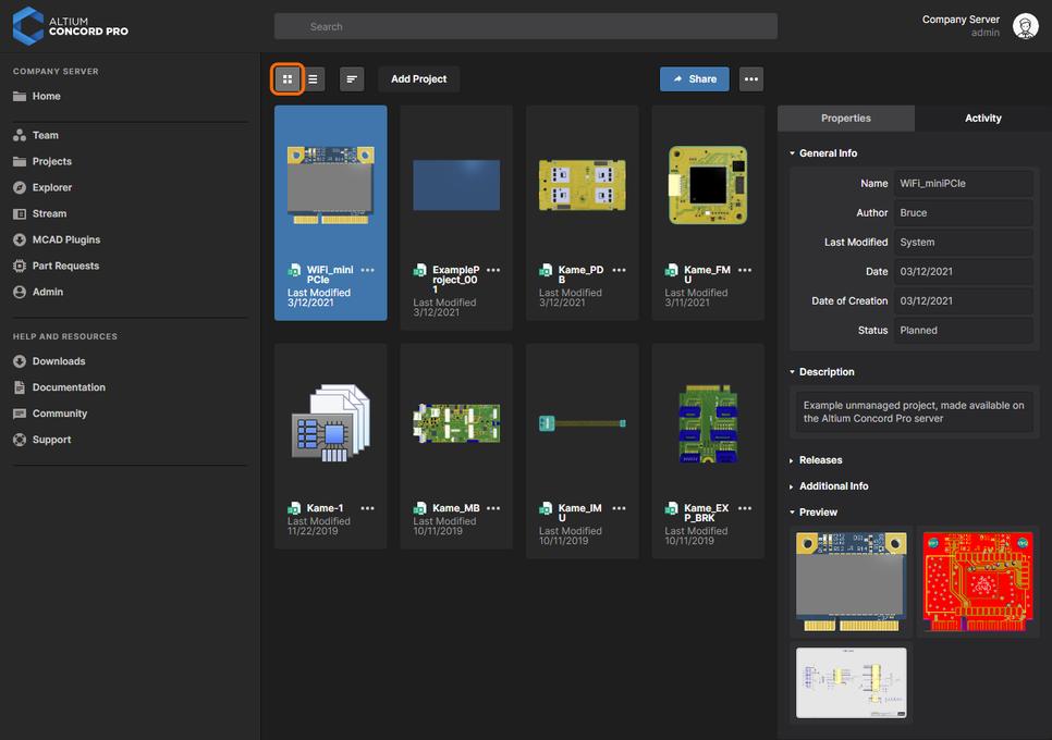 Страница Projects веб-интерфейса Concord Pro – центр управления проектами. Здесь показан режим подробного списка страницы. Наведите курсор мыши на изображение, чтобы увидеть режим предварительного просмотра проектов.