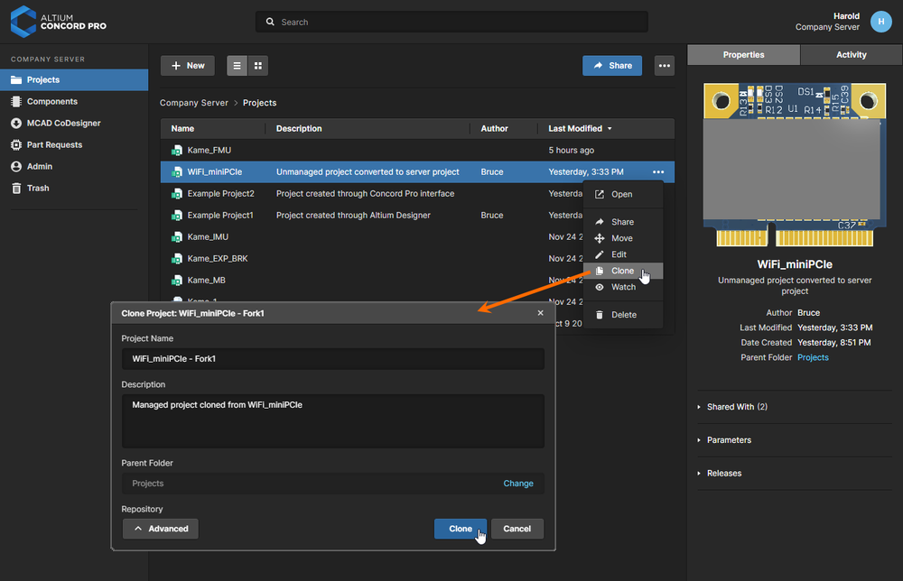 You can clone a managed project to create an identical copy of it, along with its working files.