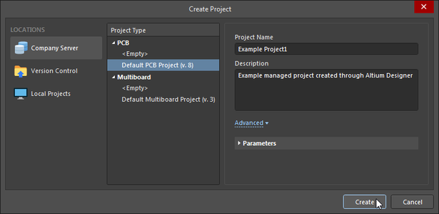 Setting up a new Managed Project in Altium NEXUS, where the project structure and files are defined by a Managed Template (Default PCB Project).