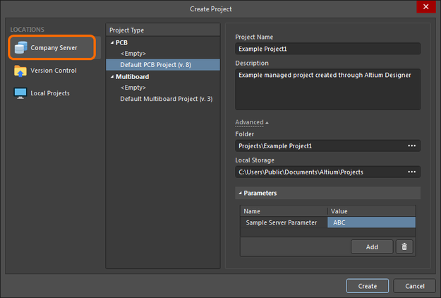 Setting up the Create Project dialog to create a new managed project from within Altium NEXUS.