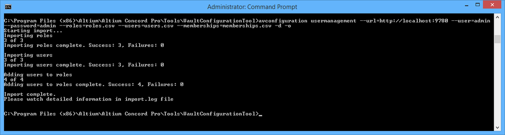 The result of running the example configuration-usermanagement command.