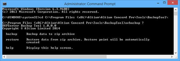 Accessing the backup tool through a Command Prompt (run as administrator).