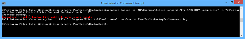 When backing up or restoring your Altium Concord Pro installation, details of any errors are presented directly in the CMD window, and written to the errors.log file.