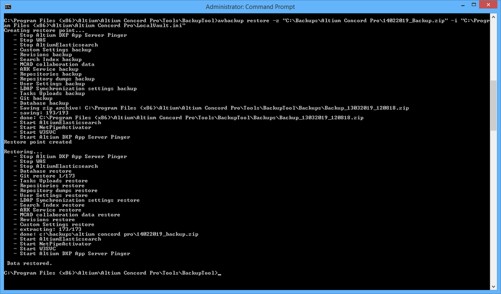 The result of running the example restore command. Notice that the tool creates a restore point first (a backup of the current Altium Concord Pro installation), before performing the restore.