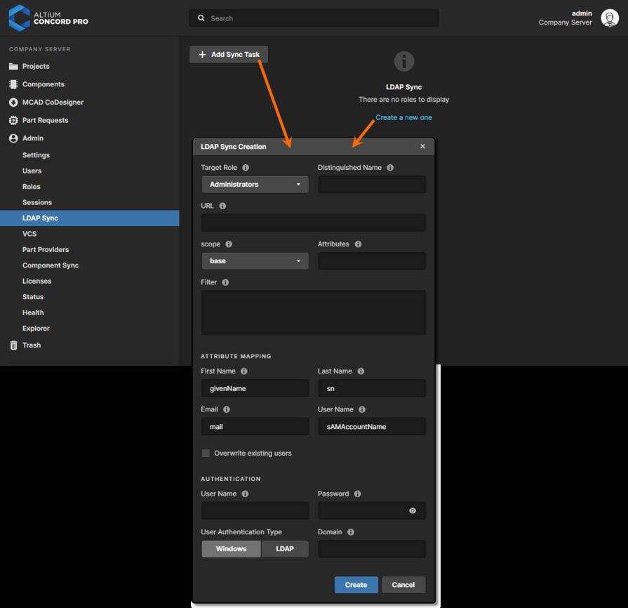 Adding a new LDAP Sync Task through Altium Concord Pro's browser interface.
