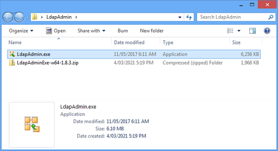 Download and extract the LdapAdmin.exe file.