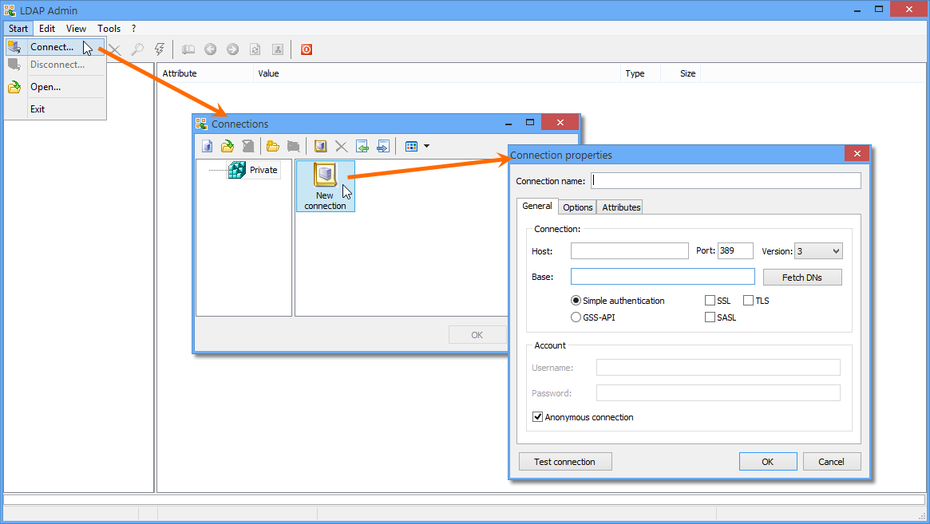 Creating a new connection within the LDAP Admin utility.