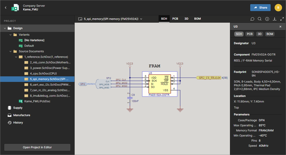 The Design view utilizes Altium's Web Viewer functionality to provide detailed review access the project's source schematic and PCB documents. Shown here is a schematic – hover over the image to see the PCB.