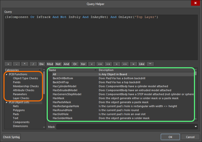 PCB query functions shown in the Query Helper dialog